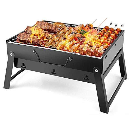 FungLam Grill portatile da campeggio, barbecue a carbonella, barbecue pieghevole, per esterni, mini griglia in acciaio inox, con griglia per picnic, giardino, campeggio, viaggi