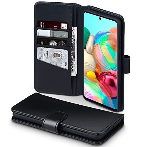 TERRAPIN, Kompatibel mit Samsung Galaxy A71 Hülle, [ECHT Leder] Brieftasche Case Tasche mit Standfunktion Kartenfächer und Bargeld - Schwarz