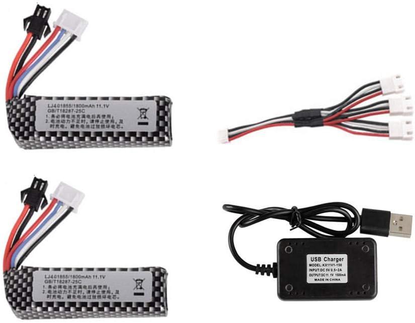 rpbll 3S 11.1V 1800mAh 25C 401855 Batería de Pistola de Agua lipo + Cargador USB Set para M4 / AK Mini Airsoft BB Air Pistol Electric Toys RC Parts 2pcs