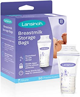Lansinoh Breastmilk Storage Bags, 50 Count (1 Pack of 50 Bags), Milk Freezer Bags for Long Term Breastfeeding Storage, Pump Directly into Bags, Nursing Essentials