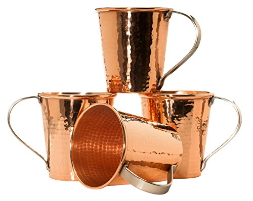 Sertodo Copper Moscow Mule Mugs, set of 4, 18 ounce capacity, Stainless Steel handles, Pure Copper, Heavy Gauge, Hand Hammered