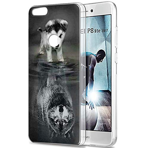 Pnakqil Funda Huawei P8 Lite 2017, Silicona Transparente con Dibujos Diseño Slim Suave Gel TPU Antigolpes Ultrafina de Protector Piel Case Cover Cárcasa Fundas para Huawei P8Lite, Lobo Perro