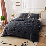Smoofy Fluffy Comforter Queen Set, Fuzzy Comforter, Velvet Comforter with 2 Pillowcases, Ultra Soft Warm and Durable, Dark Grey
