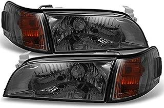 For Toyota Corolla JDM Version Smoke Headlights Replacement Pair + Amber Corner Signal Lamps 4pcs Set