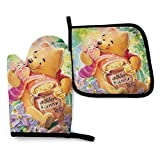 shenguang Honey Winnie The Pooh Oven Mitt and Pot Holder Kitchen Set, Heat Resistant Safe Gloves for BBQ, Baking, Cooking