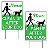 VIBE INK 9 x 12 Please Clean Up After Your Dog - No Pooping Dog Lawn Signs with Metal Wire H-Stakes Stands Included