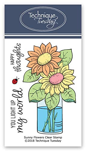 Sunny Flowers Clear Stamps | Photopolymer Stamps - Clear Rubber Stamps | Flowers Rubber Stamps | Stamps for Card Making