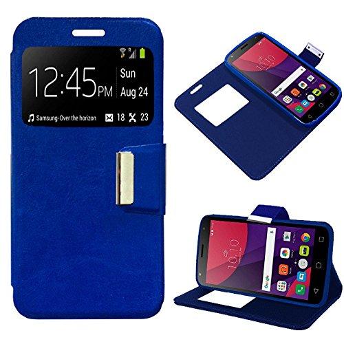iGlobalmarket Funda Flip Cover Tipo Libro con Tapa para Alcatel Pixi 4 (5) 4G / Smart 7 Turbo Liso Azul