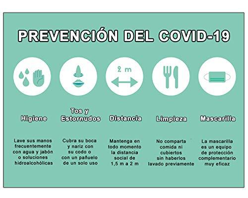 Señalización Coronavirus | Cartel Pautas Preventivas para empresas, oficinas o lugares públicos | Señal COVID 19 | Autoinstalable | 21 x 30 cm | Descuentos por Cantidad