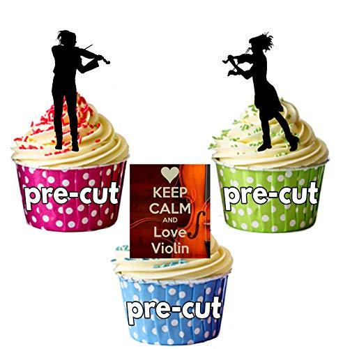 AK Giftshop PRE-CUT houden kalm en liefde viool, viool spelers, violist Silhouette - eetbare stand-up cupcake toppers (pak van 12)