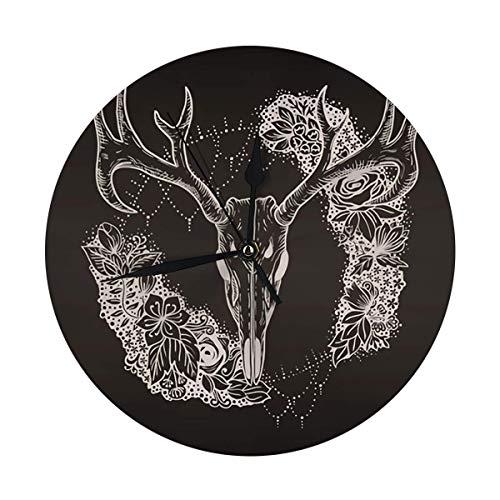 nobrand Reloj de pared redondo con calavera de ciervo estilizado y flores decorativas originales para casa, oficina, escuela de 9,8 pulgadas