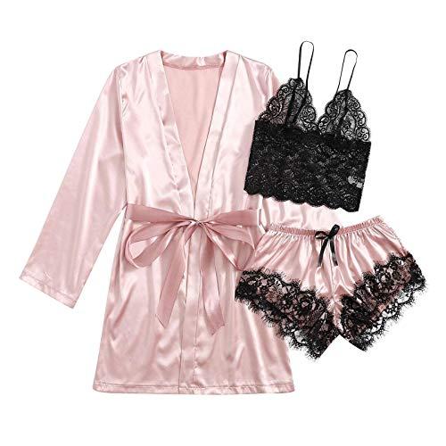 Damen Spitze Pyjama Set Nachtwäsche Unterwäsche Babydoll Kleid Anzug Satin Schlafanzug Kimono Nachthemd Negligee Sling Lingerie Morgenmantel Robe Hausanzug Schlafanzug Dessous Wäsche Set