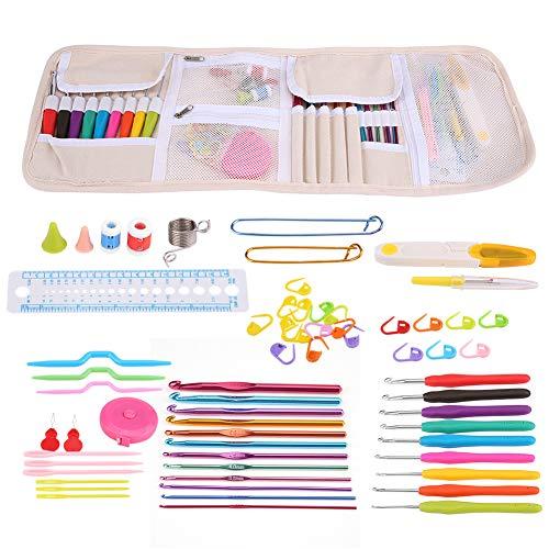 Ganchos de ganchillo con estuche, manija ergonómica Ganchos de ganchillo agujas Set de costura herramientas de tejer