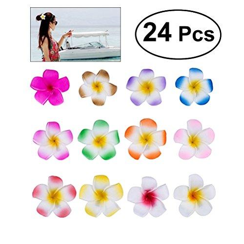 FRcolor 24 piezas . clips de flor de plumeria de estilo hawaiano (12 colores)