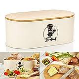 bambuswald© contenitore pane in metallo con coperchio in bambù ecologico - ca 33,5x18x13cm | contenitore pane per croissant, pane o panini | contenitore pane con asse da cucina