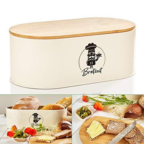 bambuswald© Panera de metal con tapa ecológica de bambú – aprox. 33,5 x 18 x 13 cm | panera para croissants, pan o panecillos | recipiente para el pan con tabla de cocina | almacenamiento