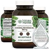 Natural Nutra Evening Primrose Oil Supplement from Fatty Acid, Reduce Acne, Balance Hormones, Reduces Menstrual Cramping, Heart Health, Skin Clarity, Menopausal Discomfort, 500 mg, 180 Softgel