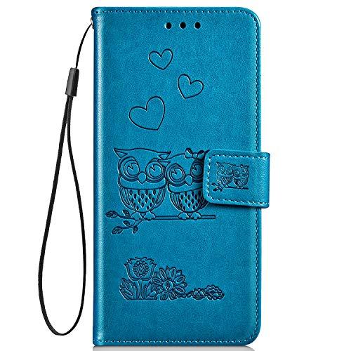 Hpory Kompatibel mit Huawei Y5 II Hülle, Huawei Y6 II Compact Handyhülle Retro Muster PU Leder mit Handschlaufe Geldbörse Hülle Flip Cover Schutzhülle Hülle Tasche + 1 x Hpory Stylus - Eulen Blau