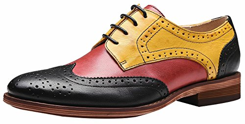 SimpleC Mujer Perforada con Cordones Wingtip Multicolor Cuero Plano Oxfords Vintage Oxford Cómodo Zapatos de Oficina Rojo Amarillo negro40.5