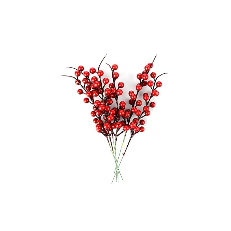 silk flower arrangements ewer artificial red berries, 100pcs simulation berries pine branch for xmas tree pip berry stems artificial berries spray for christmas ornaments fake silk flowers for diy crafts home decor
