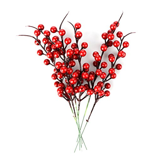 TRIEtree 20Pack Artificial Berry Stems,Red Berries for Christmas Tree, Holly Christmas Berries Artificial Red Berry Stems Decorations for Festival, Holiday and Home Decor