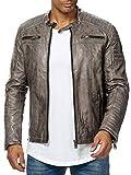 Redbridge - Chaqueta de entretiempo para hombre, piel auténtica, piel sintética, algodón, con zonas...