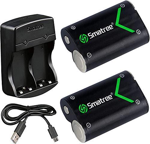 Xbox One Controller Akku, Smatree Wiederaufladbarer Akku Kompatibel mit Xbox One / Xbox One S / Xbox One X / Xbox One Elite Wireless-Controller, 2 x 2000-mAh-Akkus mit Ladegerät