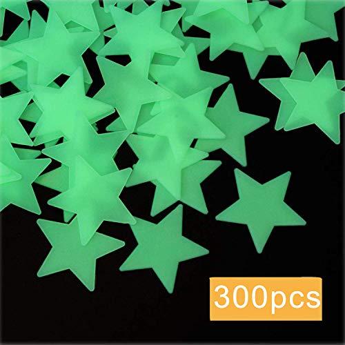 ACTENLY Leuchtende sterne,300 Stück Leuchtsticker Wandtattoo,Fluoreszierend Wand Aufkleber Plastik,für fluoreszierend Leuchtaufkleber für Kinderzimmer (Grün)