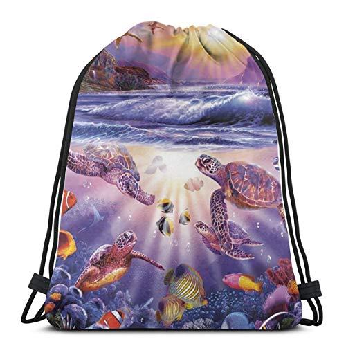 EU Turtle Bay Gym Sack Bag Kordelzug Rucksack Sporttasche für Männer & Frauen Schulreiserucksack 36 x 43 cm / 14,2 x 16,9 Zoll