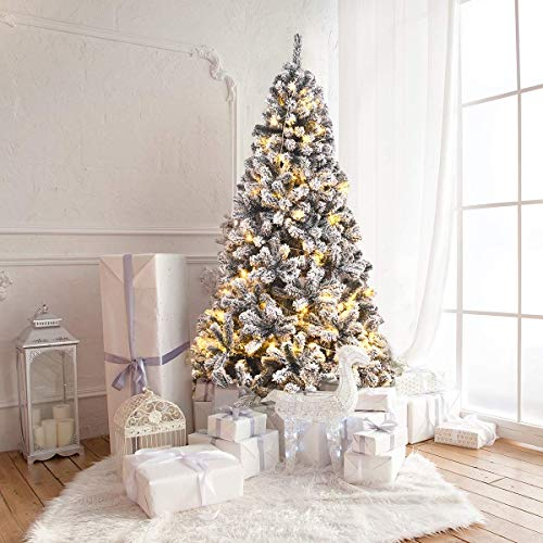 SPSUPE Artificial Christmas, Premium PVC Xmas Full, Flocked Snow Pine Tree with Solid Metal Stand, Ideal for Indoor and Outdoor (6FT), White