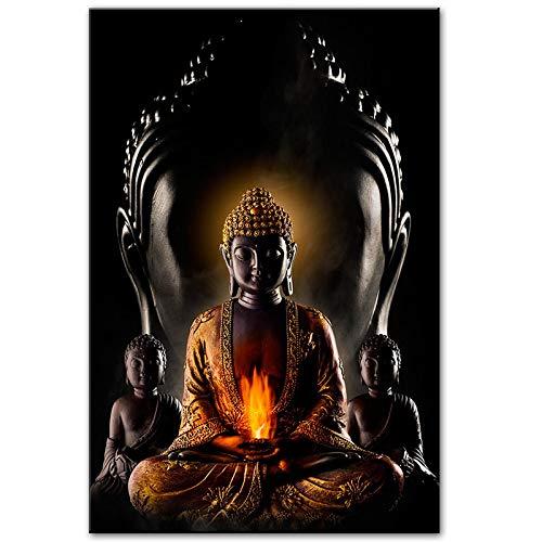 juntop Gott Buddha Meditation Malerei auf Leinwand Buddhismus Poster Drucke Moderne religiöse Wandkunst Bild Home Decoration 70x100cm / 27,6