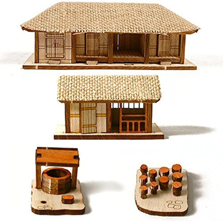 Desktop Wooden Model Kit Fourroom Thatched House Set   YG602 by YOUNGMODELER
