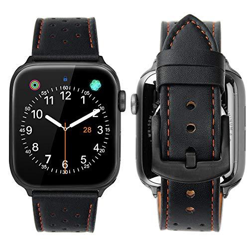 iBazal Compatible con iWatch Series 6 SE 5 4 Correa 44mm 42mm Cuero Piel Pulseras Brazaletes Bandas Reemplazo Series 3 2 1 Hombres Mujer Reloj Inteligente - Negro/Naranja 42/44