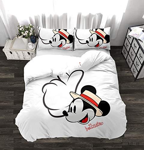 DAMEILI Disney Mickey y Minnie Mouse Juego de cama, funda de edredón y funda de almohada, microfibra, impresión digital 3D, 2/3 piezas (F,135 x 200 cm)