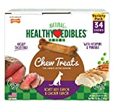 Nylabone Healthy Edibles Natural Long Lasting Dog Chew Treats, Roast Beef|Chicken, 34 count, Petite