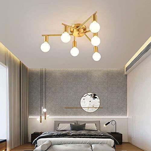 Todas las luces colgantes colgantes de vidrio de cobre Lámpara de techo de rama LED Lámpara de techo Lámparas de suspensión modernas con luces múltiples para de dormitorio, base de lámpara E27