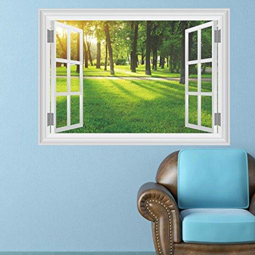 Lozse 3D Sonnenlicht Forest Wiese Wohnzimmerdekoration Umweltschutz Wandaufkleber