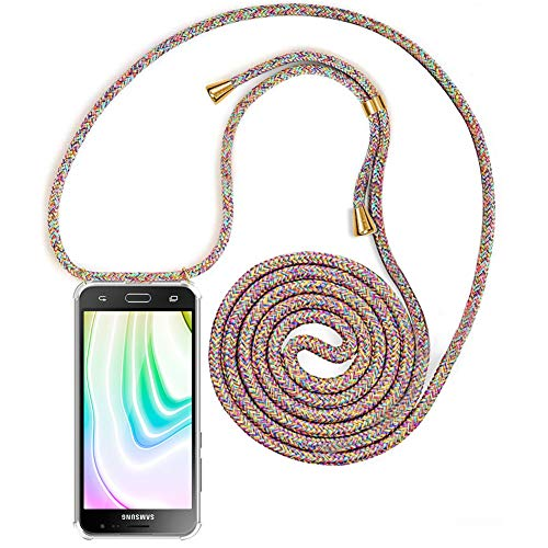 Handykette Handyhülle mit Band für Samsung Galaxy J3 2016 Cover - Handy-Kette Handy Hülle mit Kordel Umhängen -Handy Halsband Lanyard Case/Handy Band Halsband Necklace