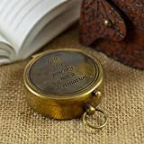 Calyron Brass Marine pocket magnetic Compass with chain nautical boat decor Antique steampunk style engraved gifts Sun dial directional pirate hiking travel camping Life is a journey not a destination