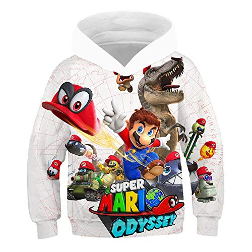 East-hai-buy Sudaderas con Capucha para Niños de 3 a 14 años, Juego Super Mario Bros Sudadera con Capucha Impresa en 3D, Suéter Abrigo Chaqueta para niñas