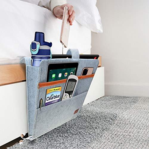 TourKing Bedside Caddy, Hanging Storage Organizer, Bedside Storage Organizer, Sofa Filz Nachttasche für Laptop, Zeitschriften, Wasserflasche und Fernbedienungen, Hellgrau