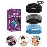 Sport Stirnband, Stirnband 3 Pack, Schweißband, Haarband Kopfband, Stirnband Anti Rutsch, Elastische Sportliche Headband, für Jogging, Laufen, Wandern,Fahrrad- und Motorrad Fahren,für Herren und Damen