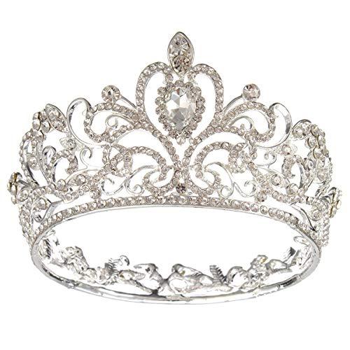 Bruids Prinses Oostenrijkse Crystal Tiara Bruiloft Kroon Sluier Haaraccessoires Sluiers (Zilver)