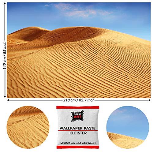 Great Art Zanddünen fotobehang - landschap wanddecoratie woestijn wandafbeelding Afrika Savanne 210 x 140 cm - 5 Teile + Kleister