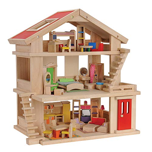 Constructive Playthings Deluxe Wooden Dream House with Furniture