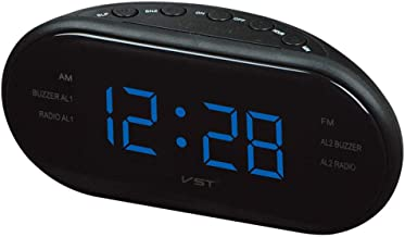Alarmclocker8B AsyPets Radio Am/FMLED Radio Despertador electrónico de Escritorio Reloj de Mesa Digital función de repetición-25-blue_France