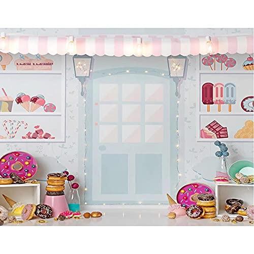 Fondos de fotografía de Tienda de Helados Candy Bar Donuts bebé recién Nacido decoración de Fiesta de cumpleaños Banner Foto de Estudio de fondo-270x180cm