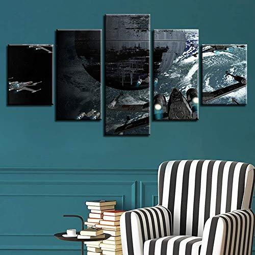 GWFVA Adicionar Adicionado Canvas 5 Stuks Dode Ster Vliegtuigen Film Foto's Modulaire Star Wars Muurschildering Poster Voor Thuis Woonkamer Decor, A, 30X50X230X70X230X80X1