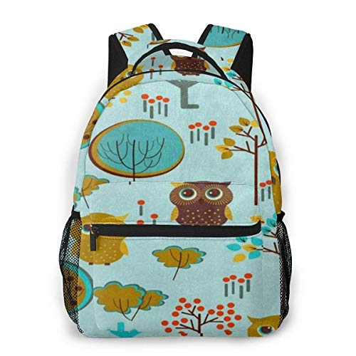 Lawenp Cartoon Owl Tree Casual Backpack For School Outdoor Travel Big Student Fashion Bag