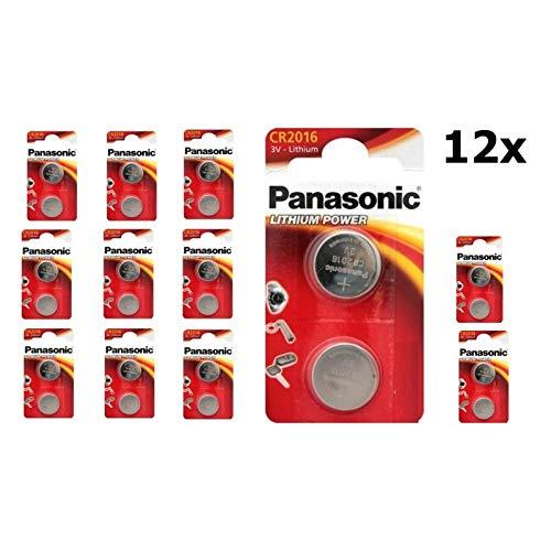 Panasonic CR2016 Lithium Knopfzelle, 3V, 12 Packungen (24 Stück)